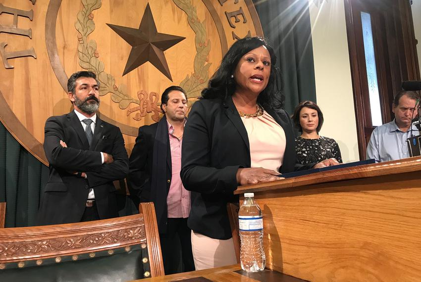 State Rep. Nicole Collier, D-Fort Worth, discusses ways to control gun violence at a press conference at the Capitol on Wedn…