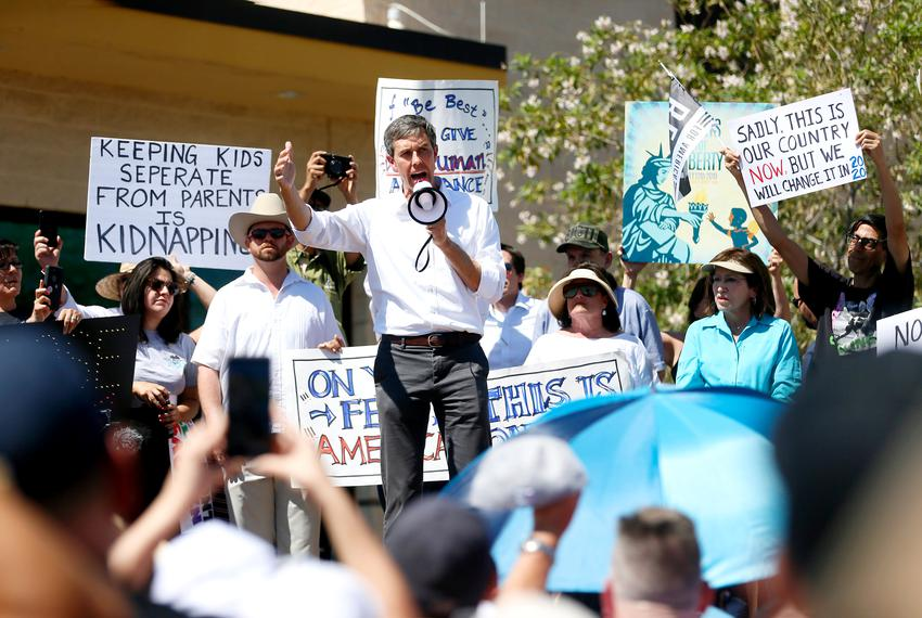 Presidential candidate Beto O'Rourke speaks at a rally the Customs and Border Patrol facility in Clint on June 30, 2019.