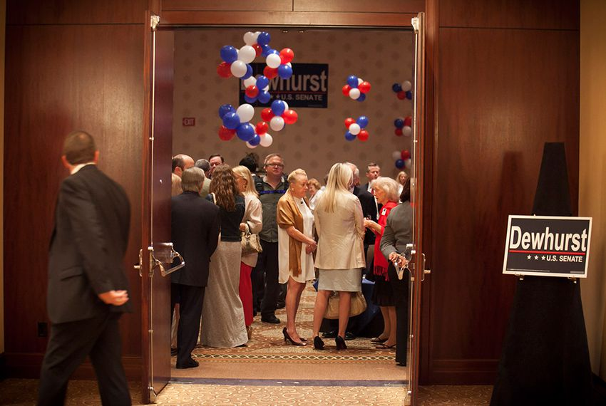 Supporters arrive to the primary watch party of Texas Lt. Gov. David Dewhurst - Houston, Tuesday May 29, 2012.