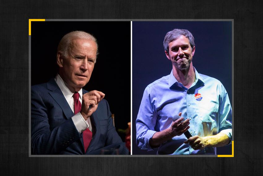 From left,  Former Vice President Joe Biden and Former Congressman Beto O'Rourke.