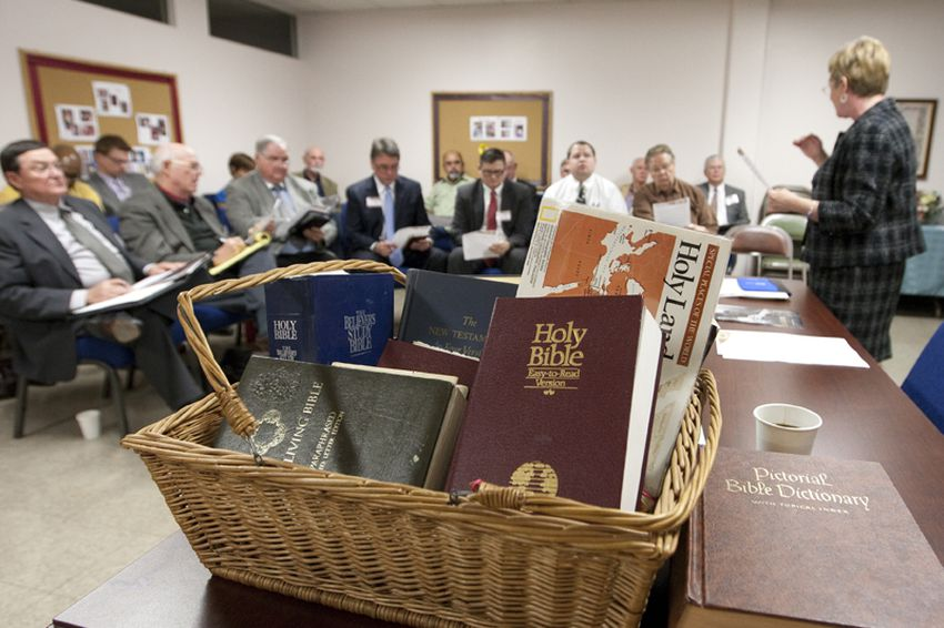 Prison chaplains meet at 1st Baptist church before heading to Texas Capitol to speak to lawmakers on Wednesday.