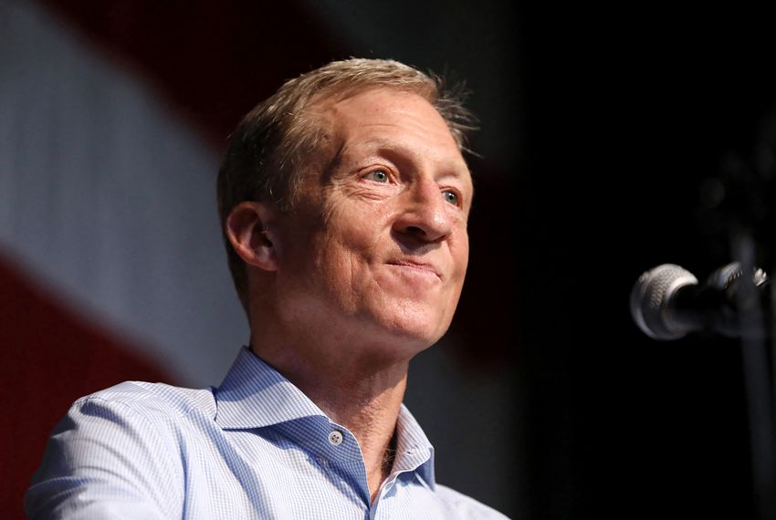 Democratic presidential candidate Tom Steyer spoke last month at an Iowa fundraising dinner.