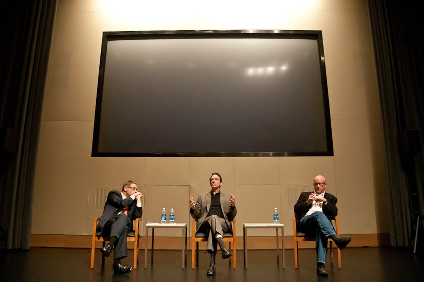 """Evan Smith converses with filmmakers Lawrence Wright and Alex Gibney after the Texas premiere of """"My Trip to Al-Qaeda"""" at the Blanton Museum."""