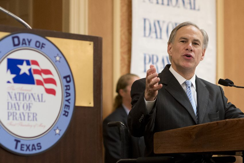 Gov. Greg Abbott at the annual Texas State Prayer Breakfast on May 4, 2015.