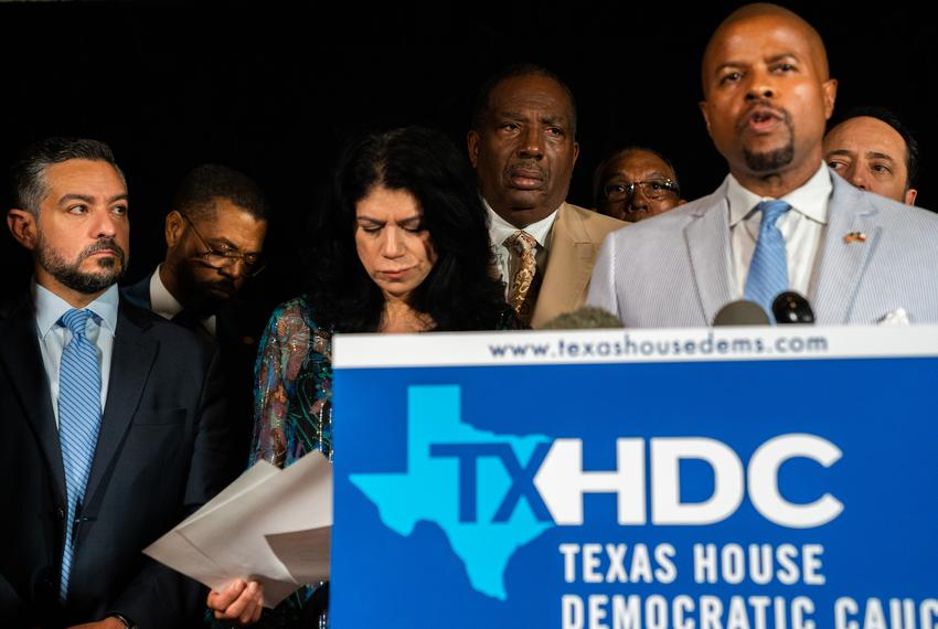 Democratic members of the Texas House and Texas Senate gathered for a joint press conference at Washington Plaza Hotel in Wa…