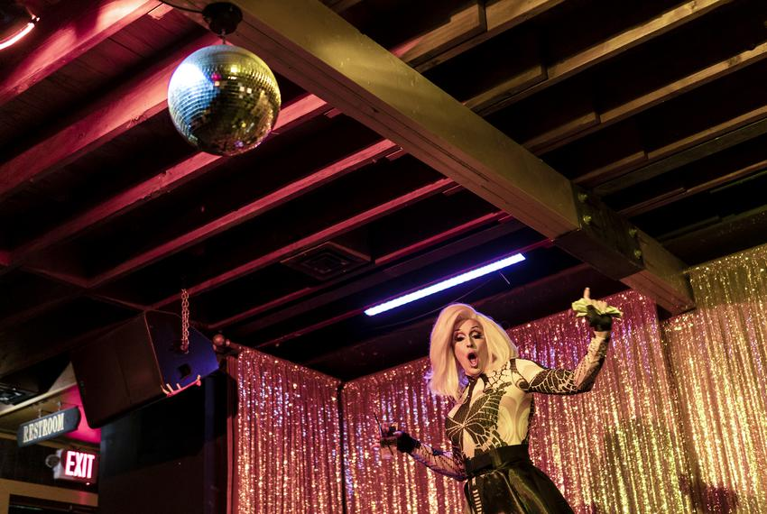 Drag queen Scarlett Kiss performs at Long Play Lounge in East Austin on June 12, 2021.