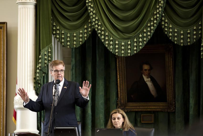 Lt. Gov. Dan Patrick reminds senators to keep their testimonies short during a discussion on Committee Substitute Senate Bil…