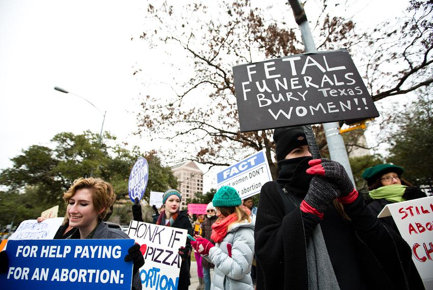 Protesters of Texas' fetal remains burial rule gather outside the Governor's Mansion on Jan. 6, 2017.