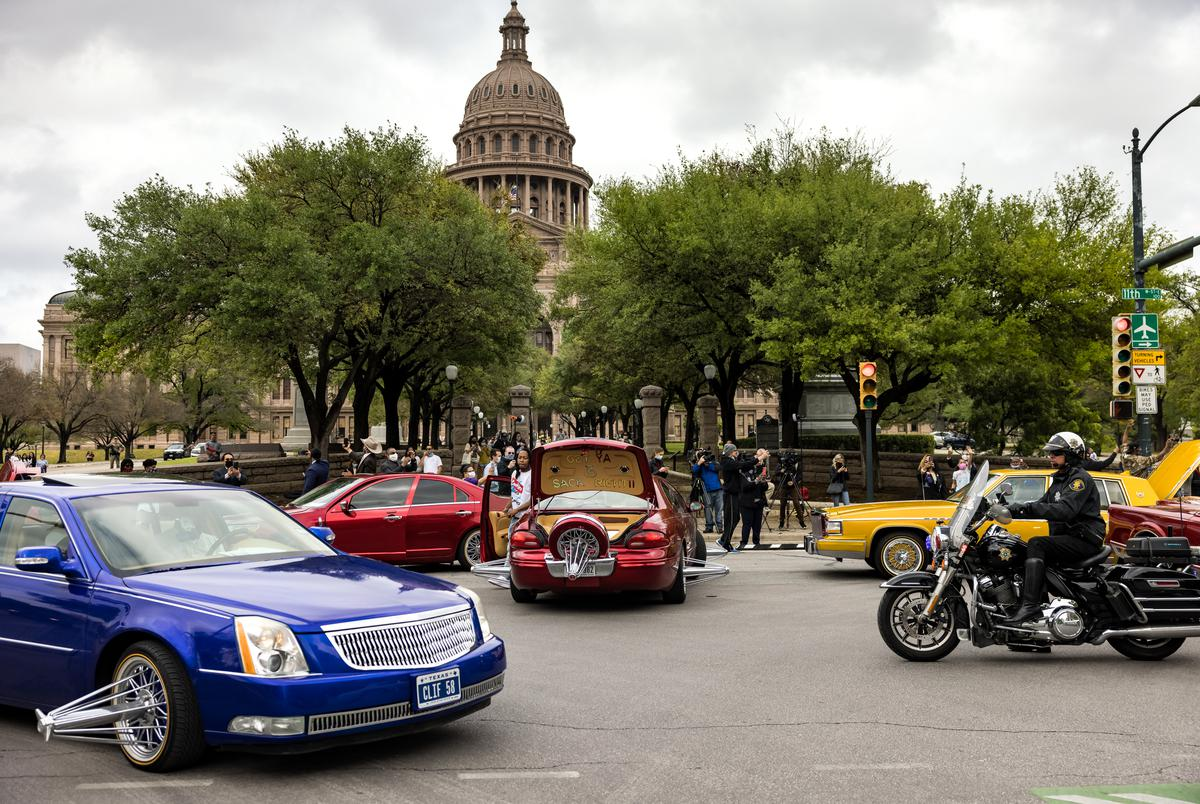 """A group of """"SLAB Riders"""" from Houston drove to the Texas Capitol in Austin to participate in a rally in support of the George Floyd Act, which seeks to reform policing in Texas, on April 3, 2021."""