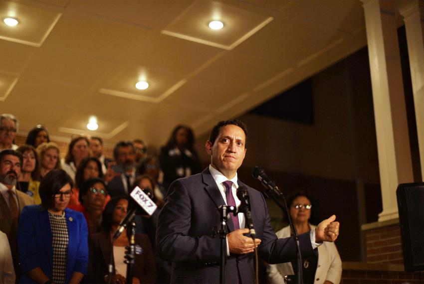 State Rep. Trey Martinez Fischer, D-San Antonio, speaks at a press conference at Mt. Zion Baptist Church near the state Capi…