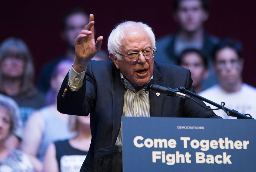 Former presidential candidate and Vermont Sen. Bernie Sanders speaks at the Verizon Theater in Grand Prairie on April 19, 2017. The event was part of a nationwide unity tour to amp up Democrats.