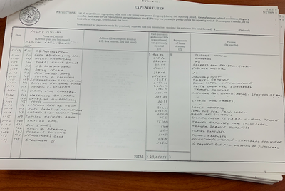 In 1979, the Texas Inaugural Committee kept extensive expenditure records, including this ledger showing items such as a $500 payment to a