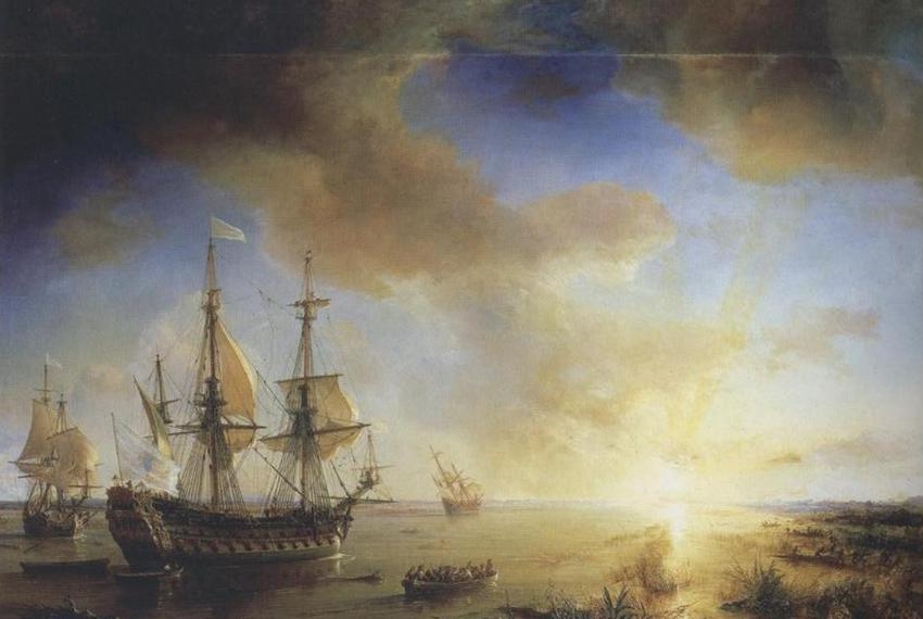 La Salle's Expedition to Louisiana in 1684, painted in 1844 by Jean Antoine Théodore de Gudin. La Belle, left, sank in prese…