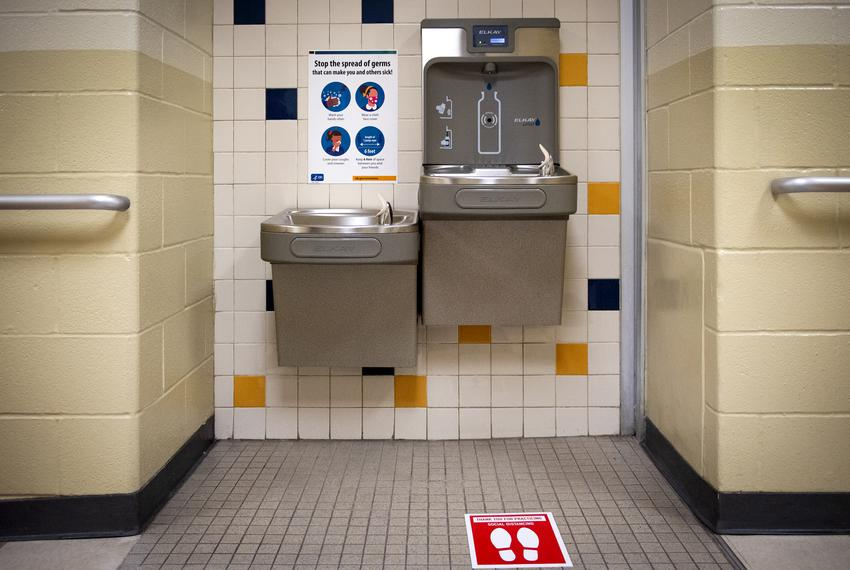 Water fountains at Northside ISD in San Antonio on Aug. 11, 2020.