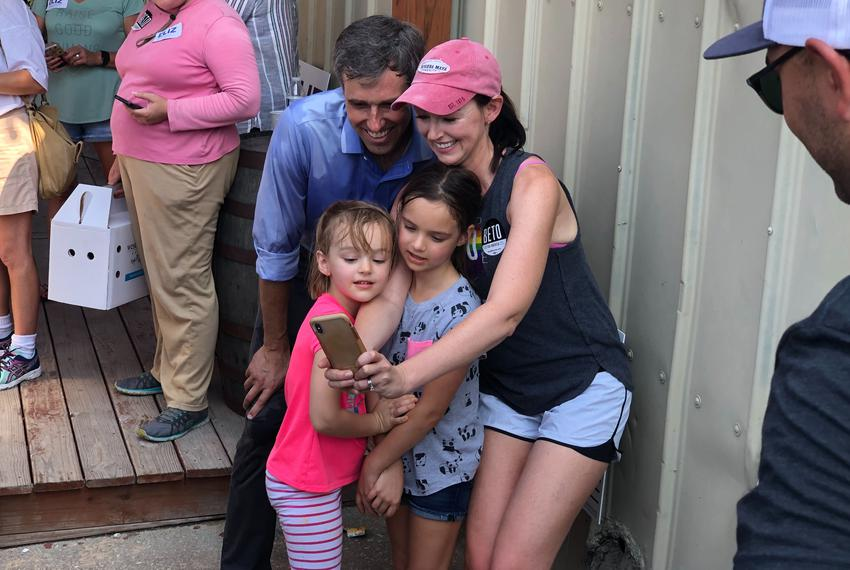 Democratic presidential candidate Beto O'Rourke works the photo line after a rally Saturday in Katy. He made a weekend swing…
