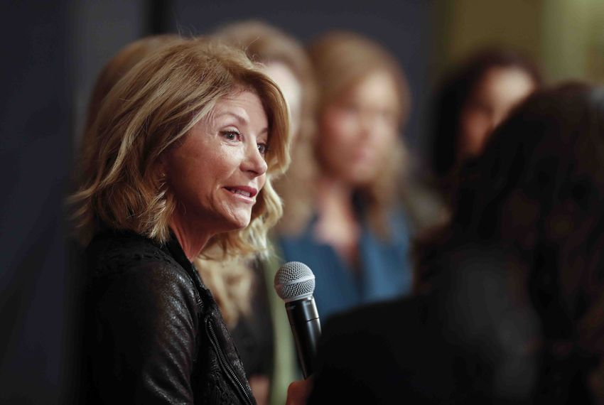 Former State Sen. Wendy Davis answers a question during a panel discussion on sexual harassment at the Texas Capitol on Jan. 9, 2018.