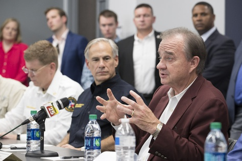 Texas A&M University System Chancellor John Sharp, chosen to head the Governor's Commission to Rebuild Texas,  speaks at a meeting of officials in Victoria, Texas after Hurricane Harvey on Sept. 8, 2017.