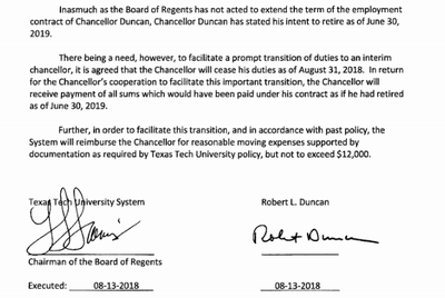 A screenshot of Robert Duncan's transition agreement, provided to the Texas Tribune through an open records request.