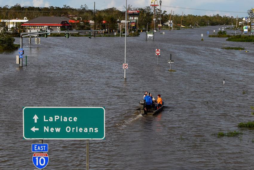 Highway 51 is flooded near LaPlace, Louisiana on Monday morning after Hurricane Ida came ashore on Sunday, Aug. 29, 2021.