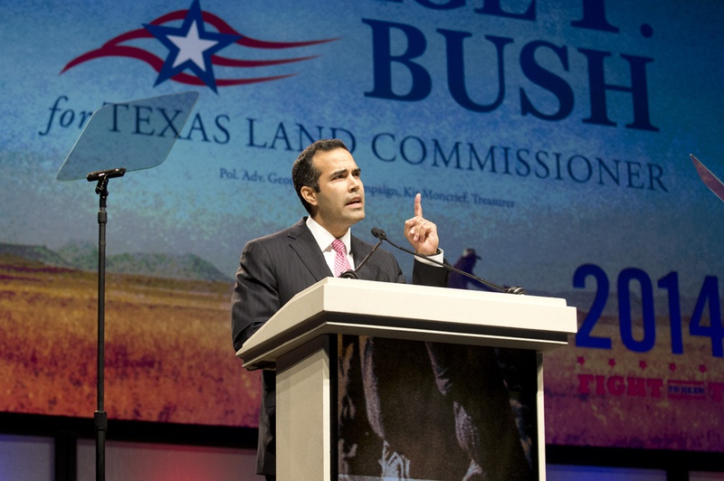 Candidate George P. Bush speaks at the Republican State Convention on June 5, 2014.