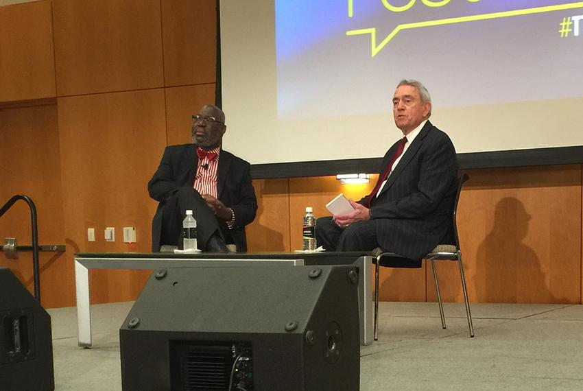 Outgoing Education Commissioner Michael Williams (l.) and journalist Dan Rather at The Texas Tribune Festival on Oct. 17, ...
