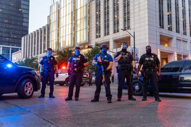 A heavy police presence marked Saturday's protest in downtown Austin.