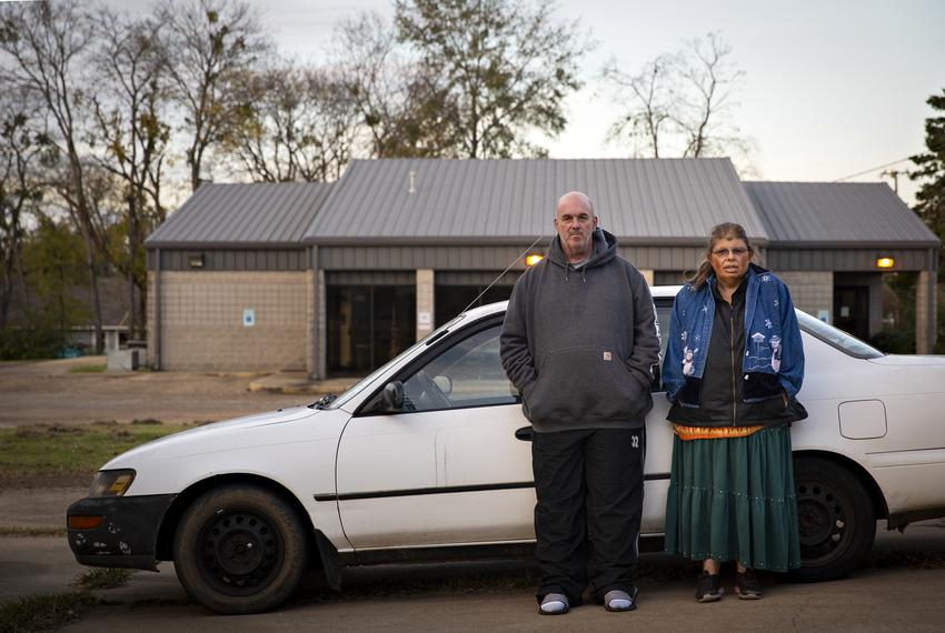 Tony Hall and Theresa Barnecutt have been living in their car since they were evicted from their homes in May. They stay in …