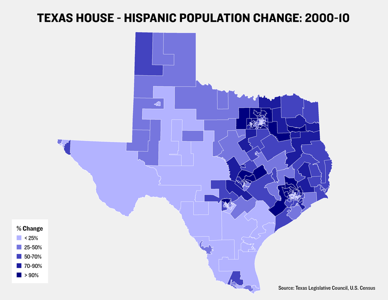 Hispanic Growth Rate by Texas House District