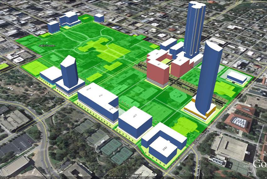 This rendering, from the Texas Facilities Commission, shows the locations for proposed new state-owned buildings in pink, si…