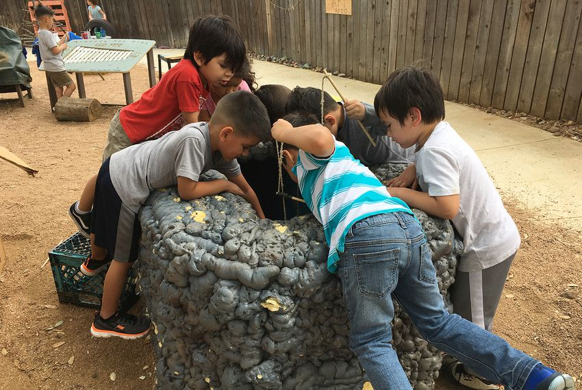 Students engage in creative activities on the playground at Pre-K 4 SA North Education Center in San Antonio.