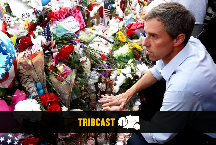 Presidential candidate Beto O'Rourke visits the memorial near the El Paso Walmart where 22 people were murdered by a mass shooter.