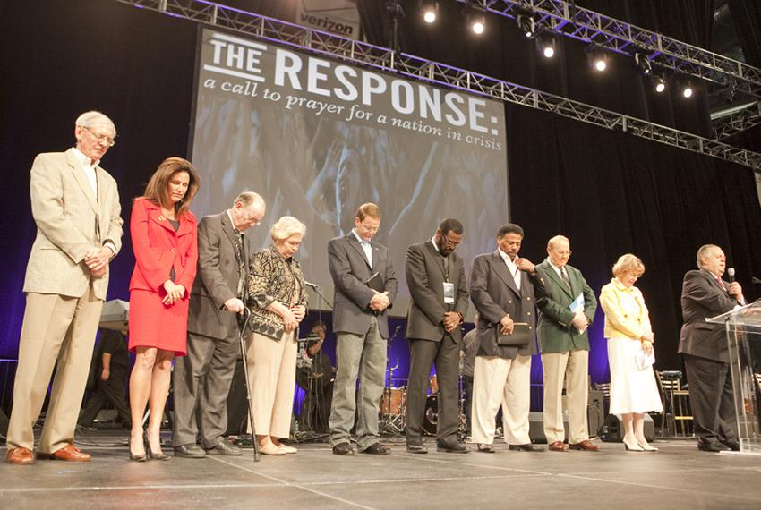 The Response prayer organizers gather on the stage at Reliant Stadium August 6th, 2011