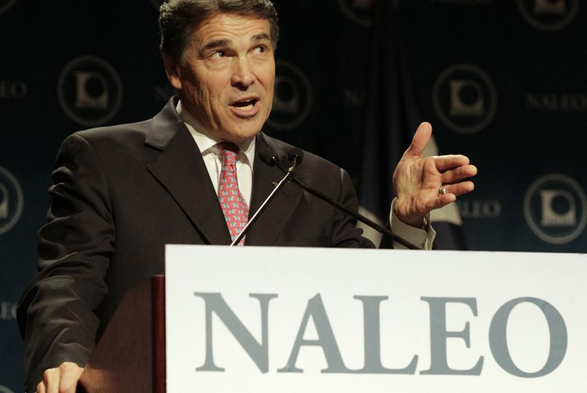 Governor Rick Perry speaks at the National Association of Latino Elected Officials (NALEO) convention in San Antonio on June…