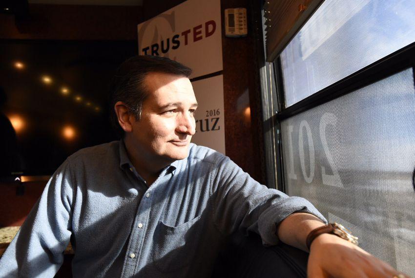 U.S. Sen. Ted Cruz of Texas on his tour bus near Ames, Iowa on Jan. 30, 2016.