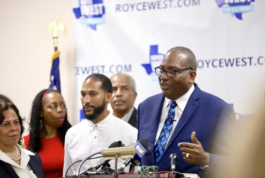 State Sen. Royce West, D-Dallas, announces he's running for the U.S. Senate against John Cornyn, in Dallas on July 22, 2019.