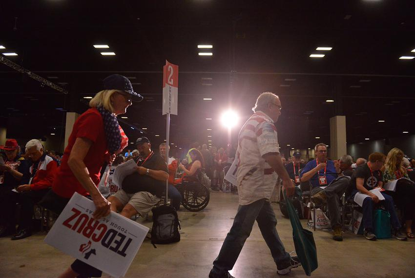 Delegates leave during the final hours of the Republican Party of Texas convention in San Antonio on Saturday, June 16, 2018.