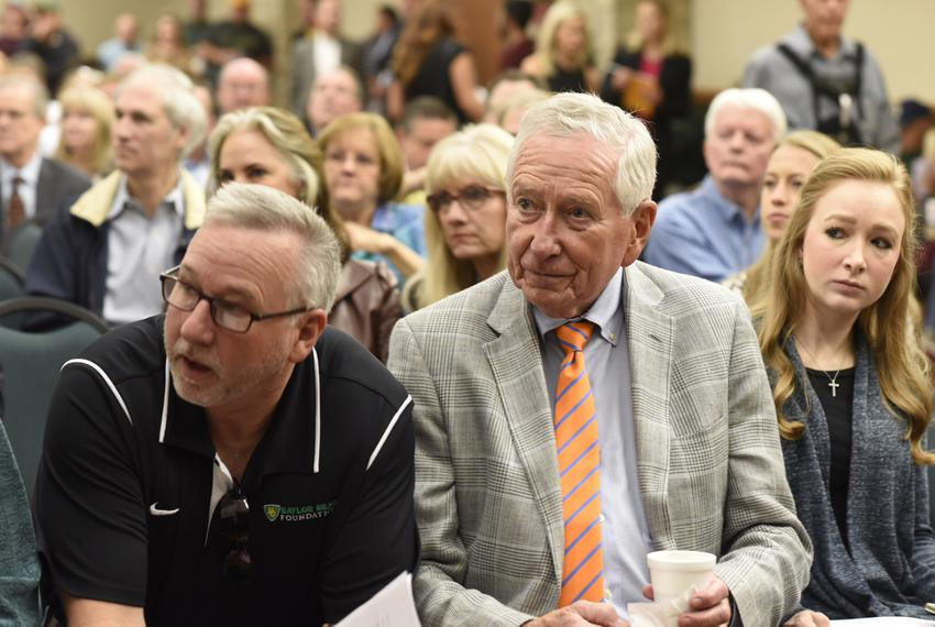 Baylor University alumni and donors listen to speakers gathered at the Texas Ranger Hall of Fame museum in Waco on Nov. 10...