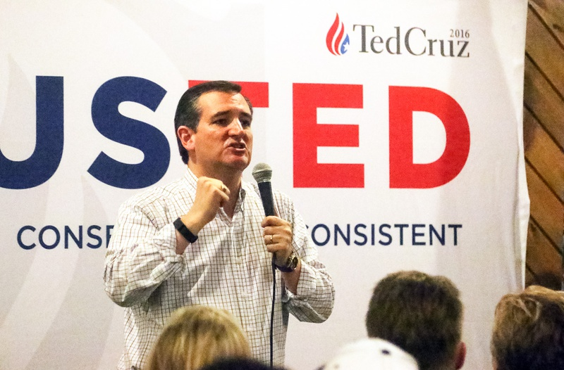 U.S. Sen. Ted Cruz made several campaign stops on Feb 8, 2016, one day before the New Hampshire primary, including the American Legion Henry J. Sweeney Post, 251 in Manchester.