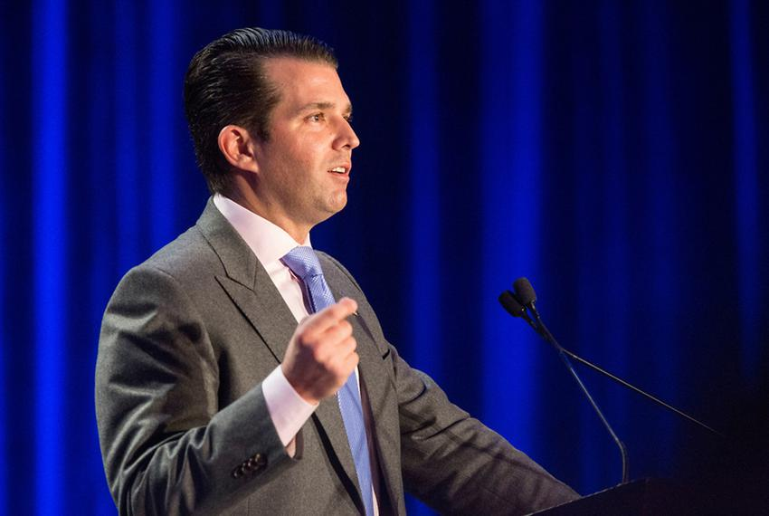 Donald Trump, Jr. speaks at the Dallas Republican Party Reagan Day Dinner on March 11, 2017.