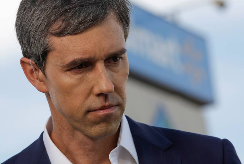 Democratic presidential candidate Beto O'Rourke is seen at the site of a mass shooting where 20 people lost their lives at...