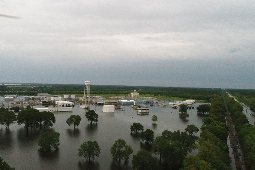 Aerial view of the Arkema chemical plant in Crosby, Texas.