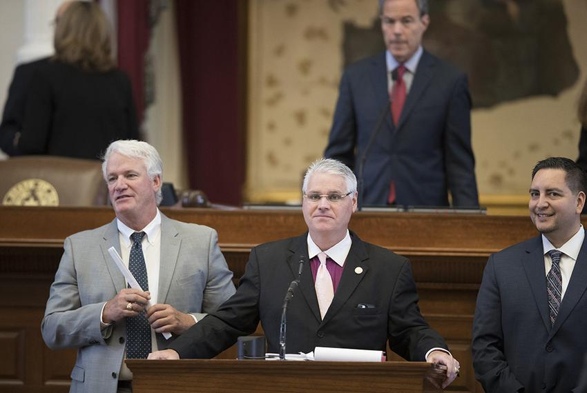 State Rep. Dan Huberty, R-Houston, closes on Senate Bill 6, the municipal annexation bill in the House on August 11, 2017.  …