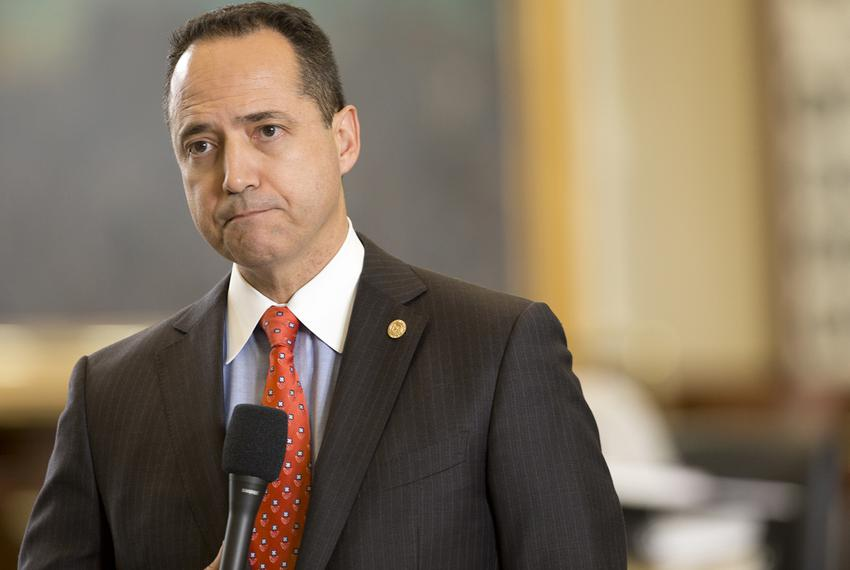 State Sen. José Menéndez, D-San Antonio, listens to questions regarding Senate Bill 179, the anti-cyberbullying bill, on M...