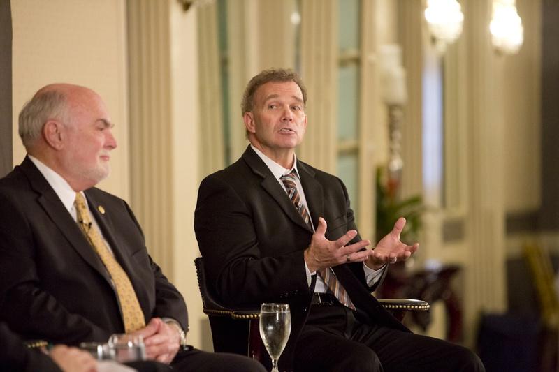 State Sen. Robert Nichols R-Jacksonville, and state Rep. Joe Pickett, D-El Paso, speak at a Texas Tribune event on April 7, 2015.