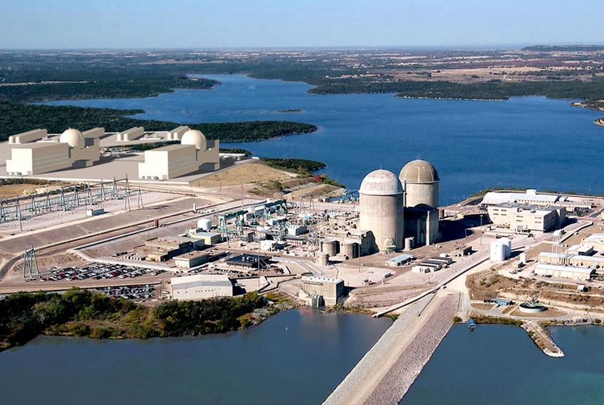 Two new reactors, shown at the upper left-hand corner of this artist's rendering, could be added to the Comanche Peak nuclea…