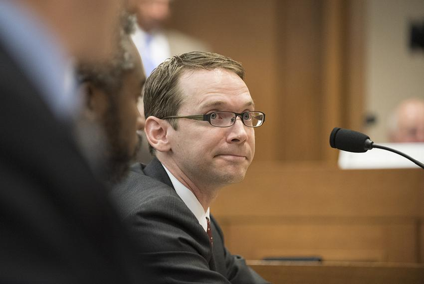 Texas Education Agency Commissioner Mike Morath testifies on school board issues before the Senate Committee on Education ...