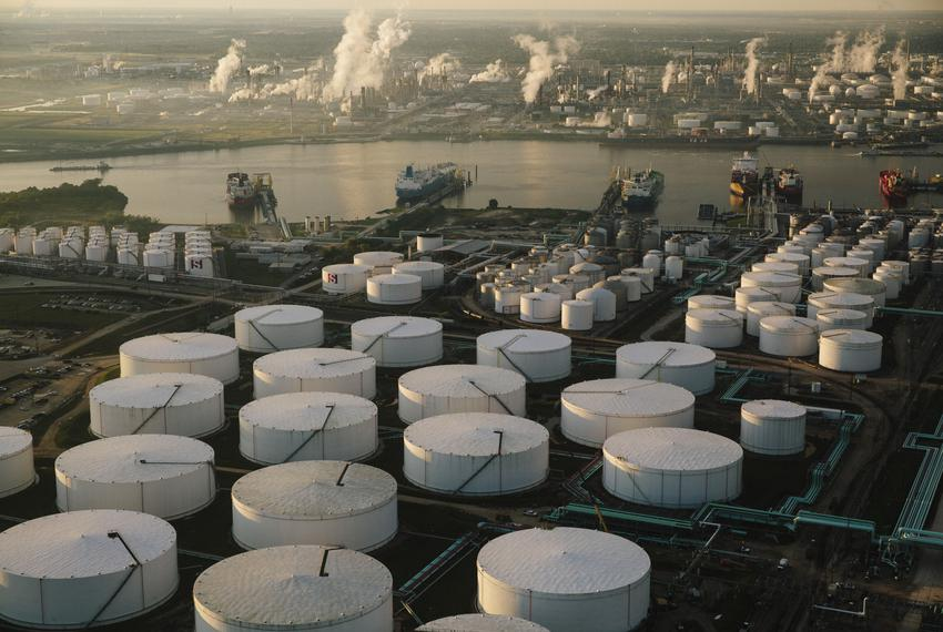 An aerial photograph of the Stolthaven Oil Tanking facility along the Houston Ship Channel on Nov. 10, 2015. Shell's Deer ...