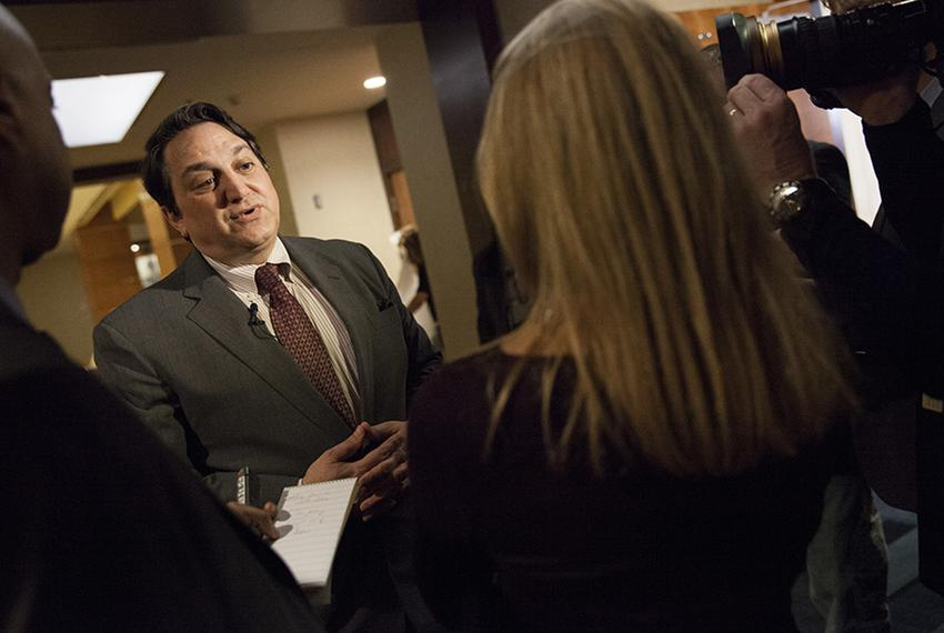Steve Munisteri, chairman of the Republican Party of Texas, speaks to the press. Jan. 30, 2015.