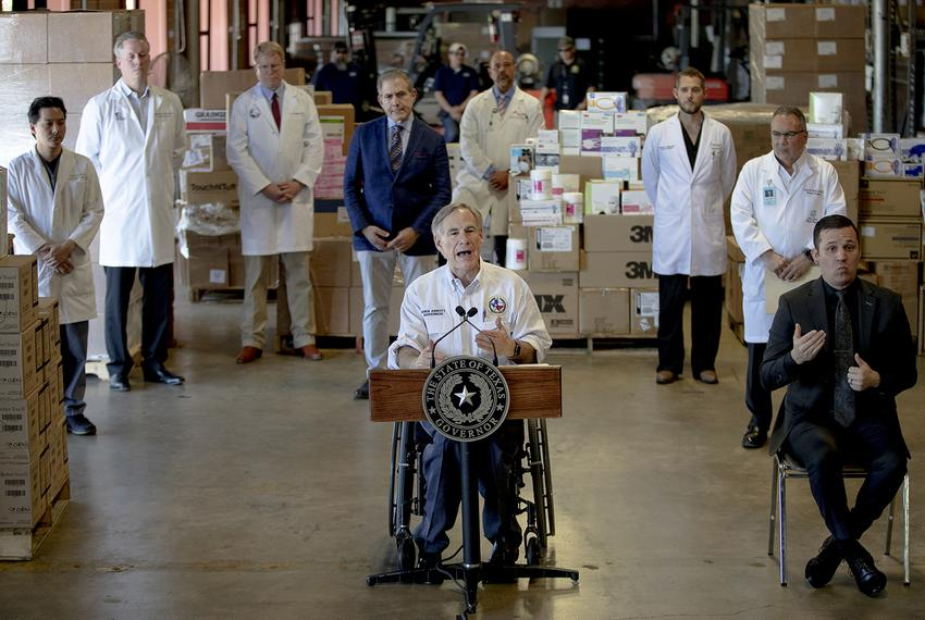 Gov. Greg Abbott speaks during a press conference about the state's response to the coronavirus on Tuesday in Austin on Marc…