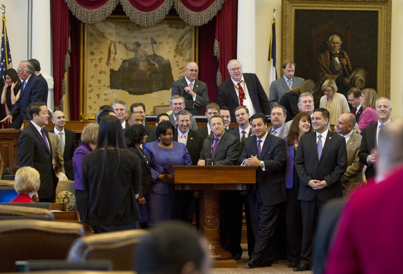 Most of the more than 40 freshman House members gather at the front mic on February 14th, 2013